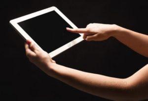 woman browsing a laptop